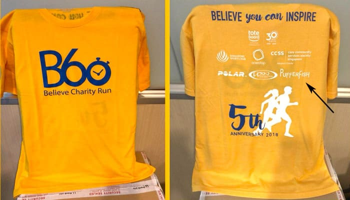 pufferfish CSR sponsor B60 Charity Run 2018 tee